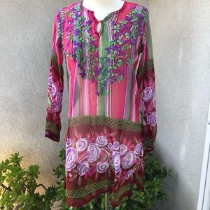 Raj tunic top sheer silk embroidered purples M